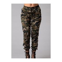 Rotita Pocket Design Drawstring Waist Camouflage Pants ($24) ❤ liked on Polyvore featuring pants, army green, print pants, camouflage pants, olive green pants, camo print pants and drawstring pants