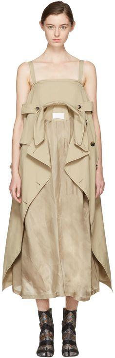 MAISON MARTIN MARGIELA Beige Oversized Trench Dress. #maisonmartinmargiela #cloth #dress