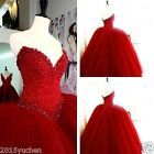 Red Beaded Wedding Dresses Quinceanera Dress Formal Ball Gown Prom Party Custom