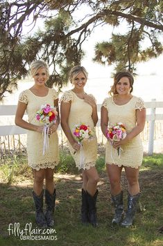 We love a lace bridesmaid dress with boots for your country wedding!