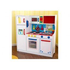 Deze Kidkraft Luxe Smulkeuken is een van de nieuwste speelgoedkeukens van Kidkraft. Een schitterende keuken uitgevoerd in basiskleuren. Kidkraft is de nummer 1 op het gebied van speelgoedkeukens.