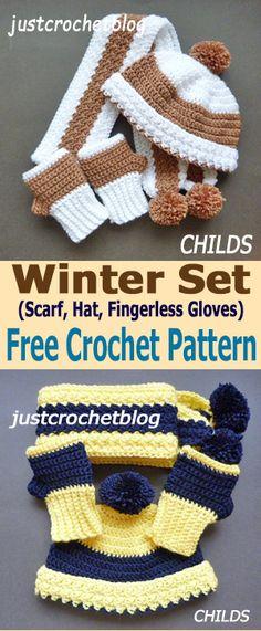 Crochet winter set. 3-pc. beanie, scarf and gloves.#affiliatelink