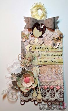 Prima Stamp. Mixed Media. Shabby Chic. Altered Tag.