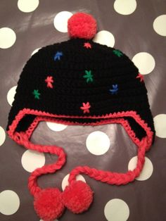 Hat with earflaps & pompoms ~ made by VanSjoukje© ~ crochet ~ haken ~ muts