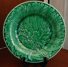 Green Antique Majolica Vine Leaf Plate by MagnificentMajolica, $72.00