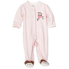 Baby girl clothes#25% Discount#Little Me Baby-girls Newborn Sweetie Monkey Footie, Pink Print, 3 Months