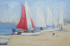 Getting ready 51x76cm Seascape Paintings, Landscape Paintings, Painter Artist, Classic Paintings, Sunshine Coast, Australian Artists, Figure Painting, Figurative, Gallery