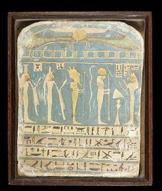 An Egyptian wood polychrome and gilt stele for Meresamun  Saite Period, circa 650 B.C.
