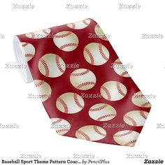 Baseball Sport Theme Pattern Coach Red Tie