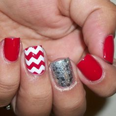 Red and white nails, OPI crown me already, chevron nail art, could be Valentines Day nails, vday nails Hot Nails, Hair And Nails, Red And White Nails, Blue Nail, Chevron Nail Art, Red Chevron, Valentine Nail Art, Valentines, Football Nails
