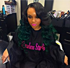 Green at the bottom Bold Hair Color, Pretty Hair Color, My Hairstyle, Pretty Hairstyles, Colored Weave Hairstyles, Hair Addiction, Hair Laid, Long Wigs, Green Hair
