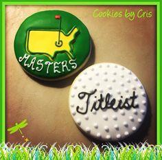 PGA Masters themed  sugar cookies. Titleist golf ball.