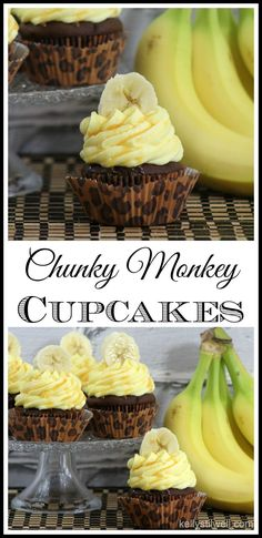 Cupcake recipes 497999671274426538 - These Chunky Monkey Cupcakes were made in celebration of the new Disneynature film, Monkey Kingdom. These cupcakes are so moist and delicious! It's the perfect recipe for a party dessert, too! Dessert Party, Köstliche Desserts, Delicious Desserts, Dessert Recipes, Drink Recipes, Dessert Tables, Picnic Recipes, Fruit Recipes, Dessert Ideas