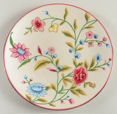 """""""JackieO"""" china with Lenox available Jan 2013 was inspired from Scalamandre archives Jardin de Tuileries silk print which Jacklyn Kennedy used in her NY city bedroom Porcelain Ceramics, China Porcelain, Red Dinnerware, Plate Design, China Patterns, Cup And Saucer Set, Teller, Bud Vases, Plate Sets"""