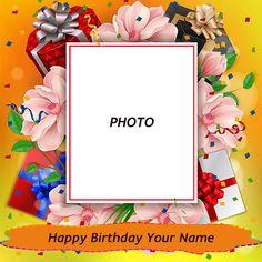 Write Name On Birthday Flowers Photo Frame Advance Happy Birthday Wishes, Birthday Wishes With Photo, Create Birthday Card, Birthday Wishes With Name, Birthday Photo Frame, Happy Birthday Frame, Happy Birthday Photos, Birthday Gift Cards, Happy Birthday Flower