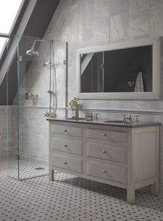 Bone White Bastide washstand 1470 with  Caviar Grey Lavastone worktop. Bridgehampton wall and floor tiles http://www.firedearth.com/bathrooms/type/furniture/further-refine-by-range/bastide-bathroom-furniture