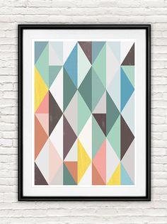 Abstrakte Kunst, skandinavische Grafik, Mitte Jahrhundert moderne, geometrische print, minimalistischen Kunst, abstrakte Poster, Wandkunst, Pastell Farbe drucken