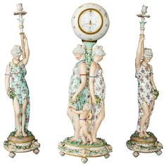 18th-19th Century Meissen Porcelain Candlesticks and Clock Depicting Ladies