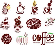 Exquisite coffee theme logo vector material
