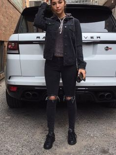 jeans - Jeans Jacket - Ideas of Jeans Jacket - jeans Black Denim Jacket Outfit, Jean Jacket Outfits, Fall Outfits, Casual Outfits, Cute Outfits, Black Outfits, Looks Dark, Winter Mode, Fall Winter