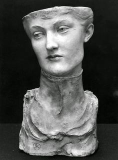 """Bust """"Mask of a Young English Woman"""" in polychrome and plaster by Fernand Khnopff, 1891 (in the Royal Museums of Fine Arts of Belgium, Brussels) Sculpture Art, Sculptures, Art Deco, Museum Of Fine Arts, Installation Art, Great Artists, Les Oeuvres, Illustration Art, Portrait"""