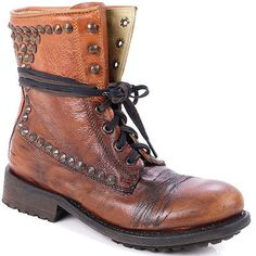 bf6e50119f012 ASH Boot Moto Studded Ankle Military Combat Lace Up Ralph Ralf Brown Biker  37 Studded Boots
