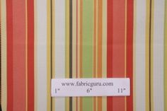 Robert Allen by DwellStudios Stripe Cabana Printed Poly Outdoor Fabric in Coral $9.95 per yard
