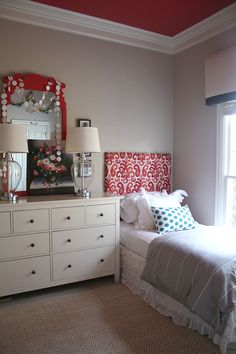 Emily A Clark - A Shared Girls' Room Refresh.  This is Kate's dresser.  Could do this with another bed so she can have two twins..