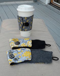 Cute and inexpensive Christmas gifts -Grey and Yellow Flower and Leaf Coffee Coozies on Etsy, $5.00 #coffeecollar #coffeesleeve #coffeecoozie
