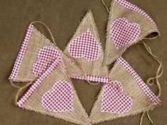 Burlap and Red Gingham Heart Bunting - Christmas Garland