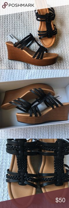 New Black Strappy Wedge Sandals Shoes New in box! Padded footbed. Faux leather.  Please note: price is already at my absolute lowest bottom dollar. Thanks for understanding! Sonoma Shoes Wedges