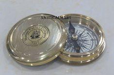 Antique Brass Robert Frost Vintage Poem  Compass new year  Vintage compass