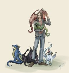 """Matt and his Chroma Conclave - I love how Umbrasyl is hugging his leg. """"Dad, did you see what that horrible gnome and half-elf did to me?"""""""