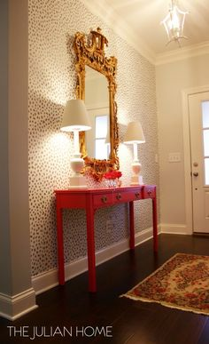 Contemporary foyer boasts an accent wall painted with a dalmatian print stencil . Contemporary foyer boasts an accent wall painted with a dalmatian print stencil similar to Thibaut Design Entrée, House Design, Interior Design, Gold Ornate Mirror, Chinoiserie Chic, Foyer Decorating, Home Decor Inspiration, Sunday Inspiration, My New Room