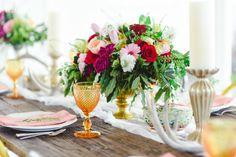 Bright blooms for a boho table setting! COLOURFUL BOHO-INDUSTRIAL WEDDING THEME  www.elegantwedding.ca