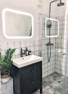 Ikea Bathroom Lighting, Ikea Bathroom Mirror, Bathroom Sink Units, Small Bathroom Tiles, Yellow Bathrooms, Bathroom Colors, Bathroom Shower Curtains, Ikea Light Fixture, Light Fixtures