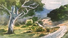Watercolor Painting of a beautiful landscape and a beautiful tree. Process of watercolor painting step by step full length demonstration by Prashant Sarkar. Watercolor Landscape, Watercolour Painting, Step By Step Painting, Watercolour Tutorials, Learn To Paint, Beautiful Landscapes, Drawings, Artist, Artwork