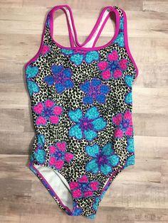 SPEEDO Girl's swimsuit one piece bathing suit animal print floral size 10    eBay