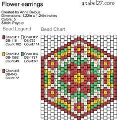 Схема цветочных сережек - кирпичное (мозаичное) плетение
