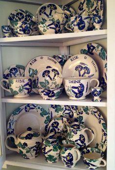Emma Bridgewater Morning Glory Collection Dresser Inspiration, Pottery Cafe, Emma Bridgewater Pottery, Kitchen Dresser, Tea Party, Rice, Blue And White, Joy, China