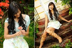 unique Senior Pictures Ideas For Girls | Outdoorhigh-school-senior-pictures-of-Chinese-teenager-on-stairs