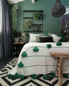Green walls, green rooms, bedroom green, bedroom inspo, home bedroo Trendy Bedroom, Bedroom Inspirations, Home Bedroom, Bedroom Interior, Beautiful Bedroom Decor, Relaxation Room, Beautiful Bedrooms, Bedroom Green, Bedroom Colors