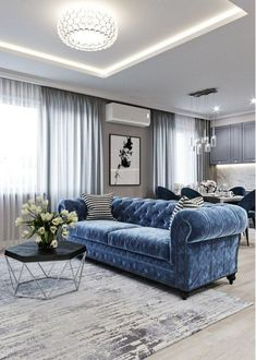 - Beautiful Home interior Mansions Stairs - - Home interior Design Living Room Open Concept - Dream Home interior Cozy Living Room Grey, Living Room Sofa, Home Living Room, Interior Design Living Room, Living Room Designs, Living Room Decor, Kitchen Living, Navy Blue And Grey Living Room, Studio Interior