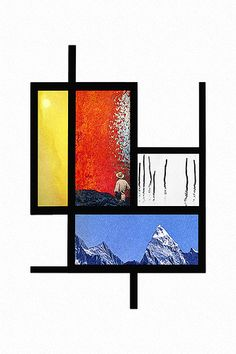 Cool way to approach Mondrian...create squares and rectangles and fill each with primary color images