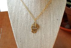 Gold Wire Wrapped Skull Necklace Frosted Glass Beads by MummyLust, $30.00