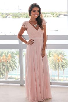 Blush Crochet Top Maxi Dress with Open Back