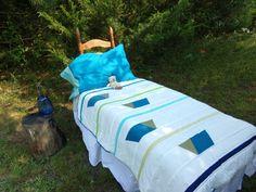 Modern Oregon Trail Toddler Quilt, Modern Toddler Quilt, Modern Blue and Green Toddler Quilt, Modern Baby Boy Quilt, Woodland Toddler Quilt by laruedefleurs on Etsy