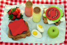 This is beyond adorable. :) Wooden Play Food Picnic Set: Lunch for Two, Sandwiches, Drinks, Fruit, Egg