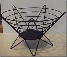 Vintage Mid Century Modern Wire Basket Bowl