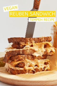 You're going to love this Vegan Tempeh recipe! This vegan sandwich is made with marinated and grilled tempeh, homemade Russian Dressing, and seeded rye bread.